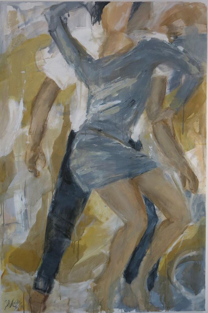 2015, Dancing Couple, H150 x B100, Acryl, Pigment, Kaffe auf LW