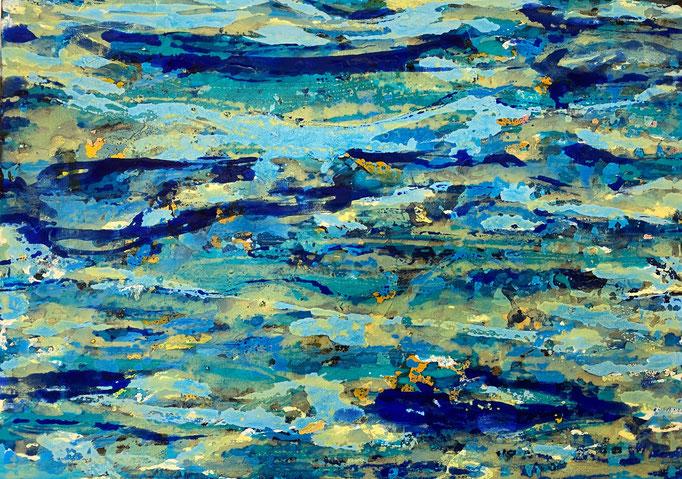 o. T. 70x50cm Acryl, oil and pigments auf Leinwand