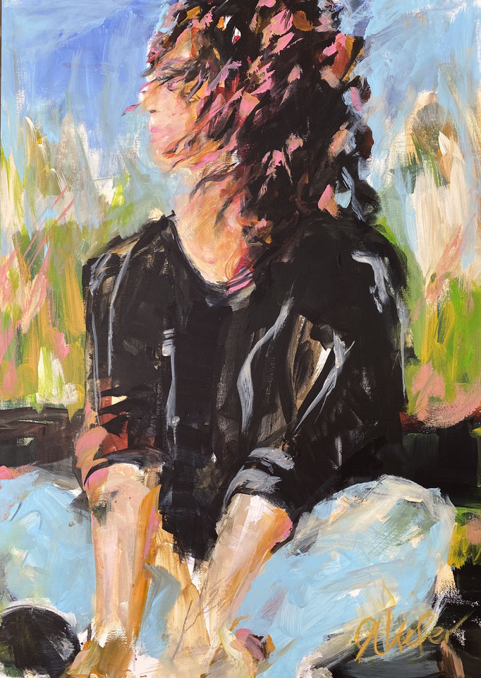 """woman sitting close to the beach"" 50x70cm"