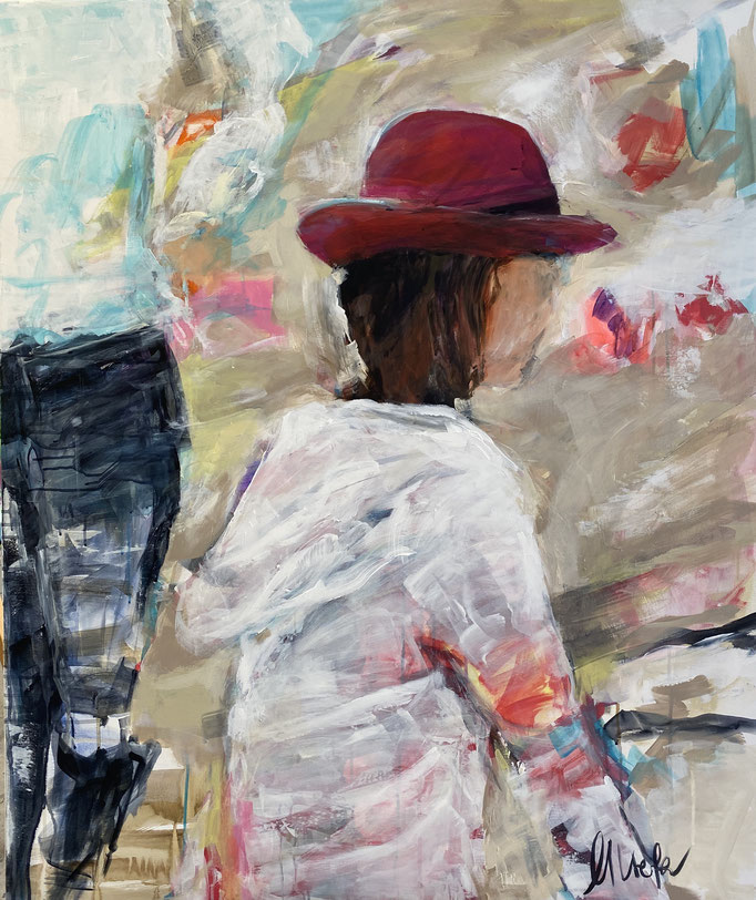 """woman with pink hat"" 100x120"