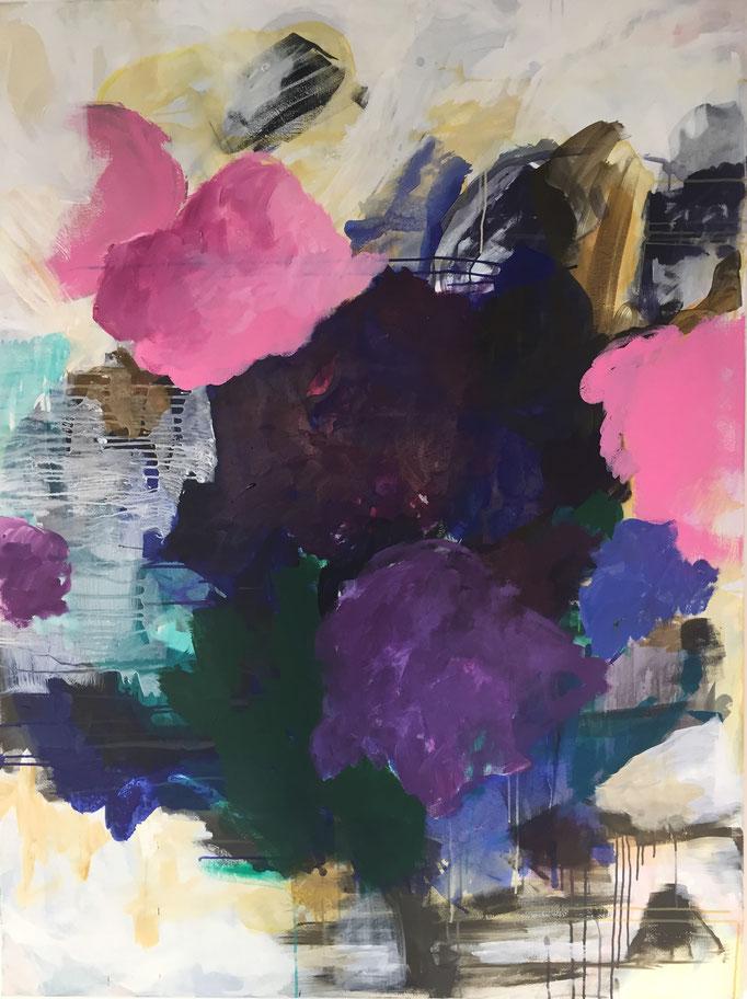 Flower Power I, 120x160cm, Acryl u Pigment auf LW
