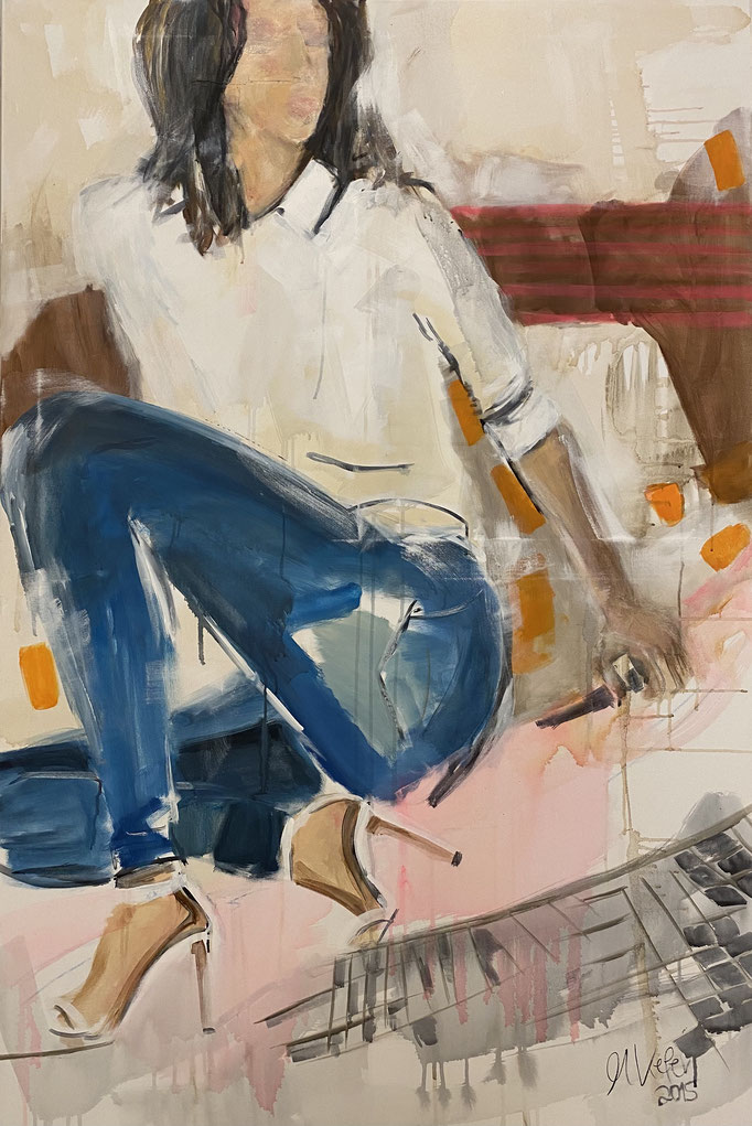 Woman in Jeans and white shoes, 100x150cm, Acryl auf LW