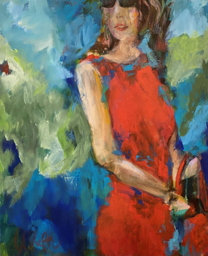 """woman in red dress"" 50x60cm, Acryl auf LW"