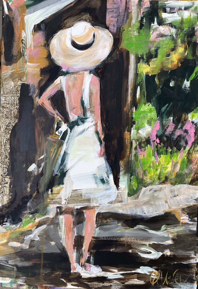 """ woman in the alleys of Bormes, South France 50x70cm"