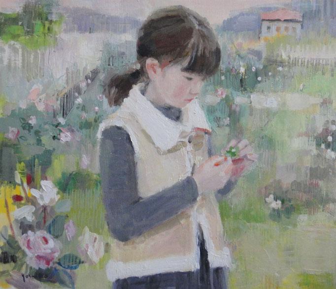 花と少女 10号油彩