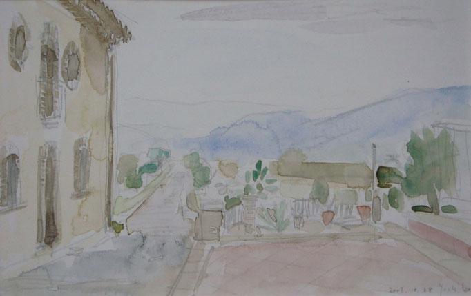 イタリアの現地スケッチ (このようなスケッチをたくさんして帰ると、アトリエでも描けるものです。)