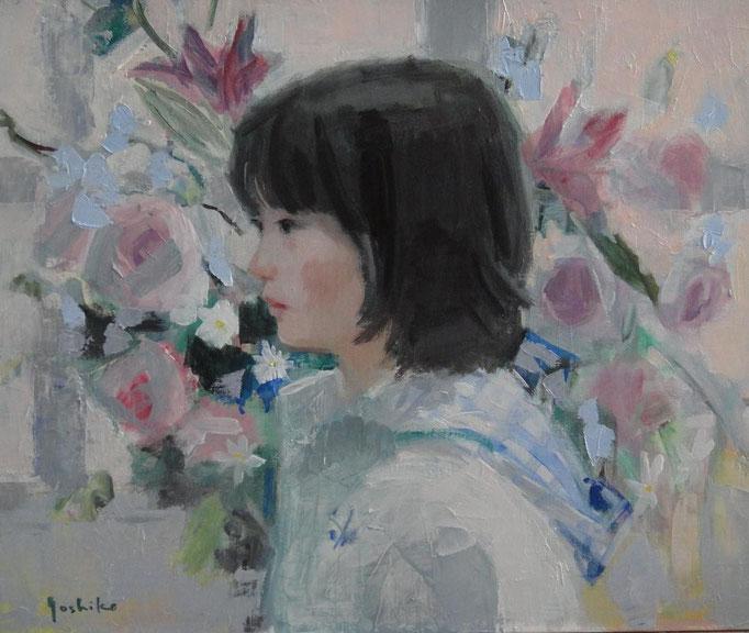 花束と少女 8号油彩