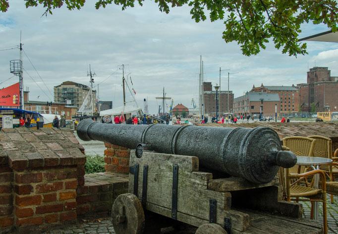 Alte Kanone der früheren Stadtbefestigung