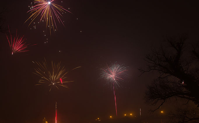 Kitzingen am Main, Feuerwerk zum Jahreswechsel 2014/15