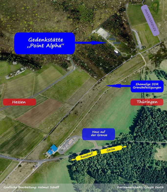 """Die Gedenkstätte """"Point Alpha"""" vom Weltraum aus betrachtet, Kartenausschnitt: Google Earth"""
