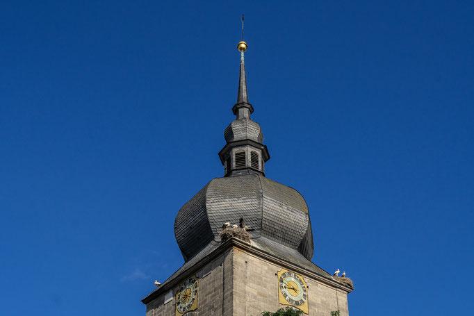 Der markante Zwiebelturm der St. Jakobus Kirche