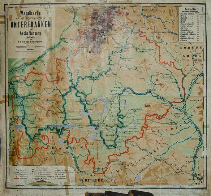 Wandkarte des kgl. Regierungsbezirkes Unterfranken und Aschaffenburg
