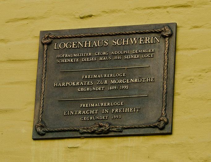 Gedenktafel am Logenhaus Schwerin