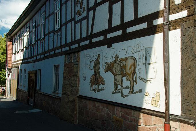 Wandmalerei an einer Metzgerei