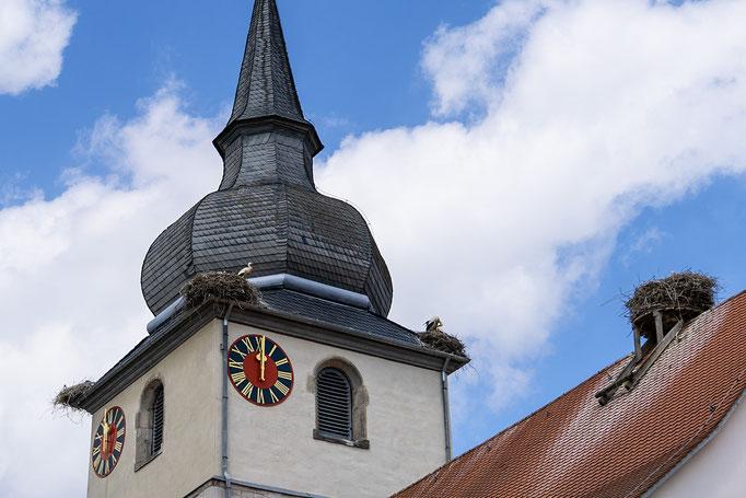 Storchennester auf dem Turm der St.-Johannis-Kirche in Ipsheim
