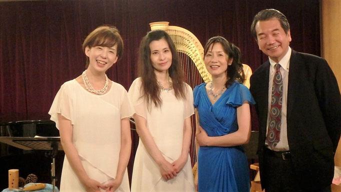 さくらいりょうこさん、ハープの石井光子さん、元NHKアナウンサーの村上信夫さんと