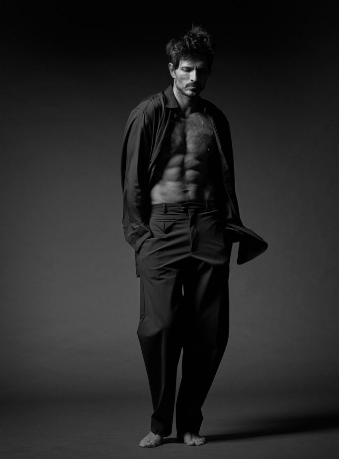 Les Hommes Piblics by Nico Bustos Artlist New York Stylist Antonio Moscogiuri Model Andres Velencoso Hair Yoann Fernandez Production Allan Vetier Makeup by me Amelie Moutia