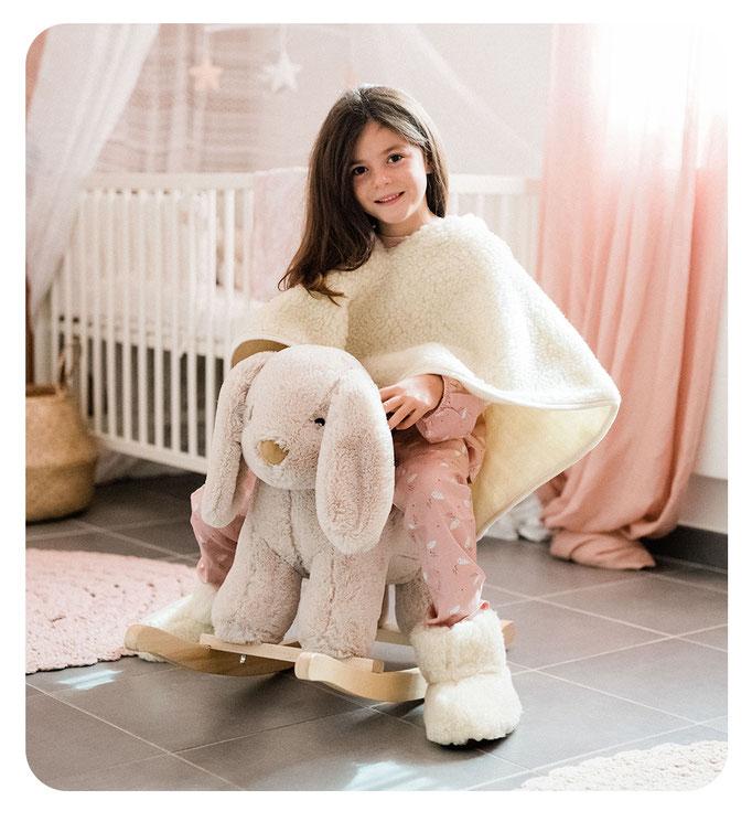 poncho en laine naturelle de mouton enfant