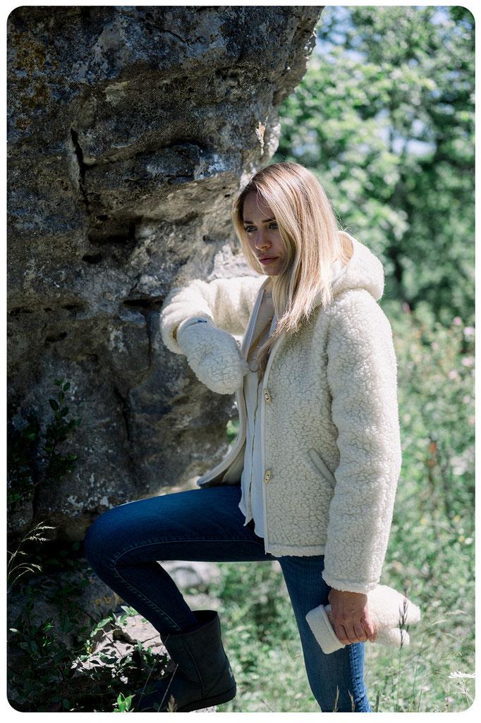 gilet veste en laine naturelle de mouton capuche manche longue lavable machine adulte