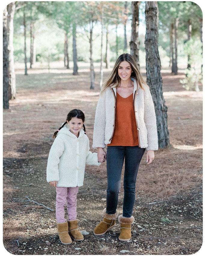 gilet en laine naturelle de moutron enfant et adulte avec capuche