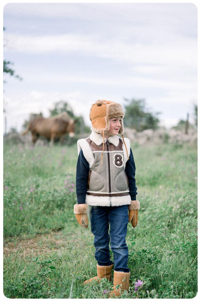 gilet en peau de mouton retournée enfant peau lainée double face veste sans manche gilet doublé mouton garçon enfant