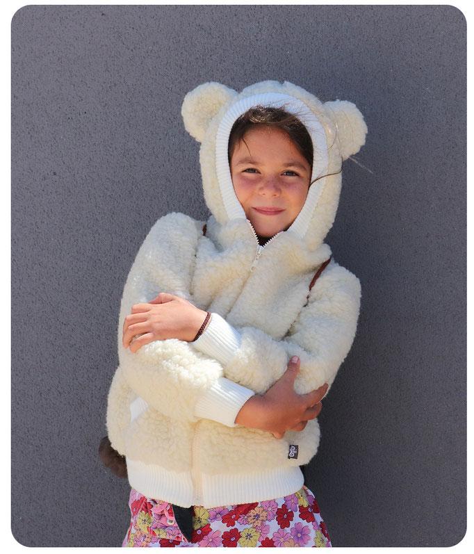 gilet veste en laine naturelle de mouton capuche manche longue lavable machine enfant