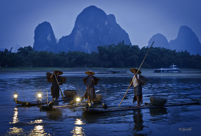 Blue hour with fishermen
