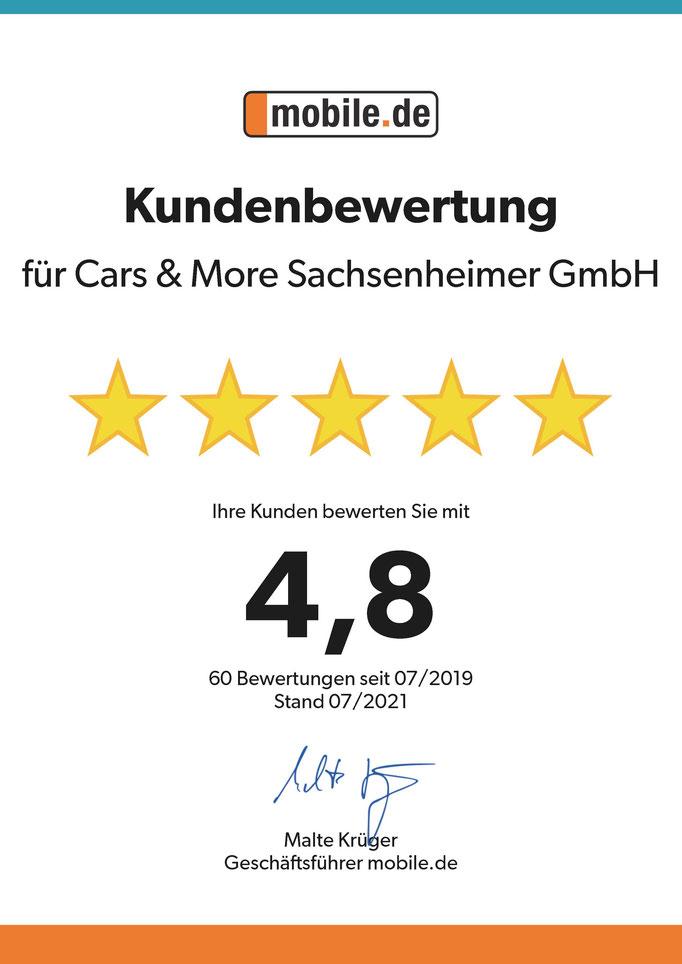 Autohaus Cars & More Sachsenheimer GmbH Urkunde Kundenbewertungen mobile.de