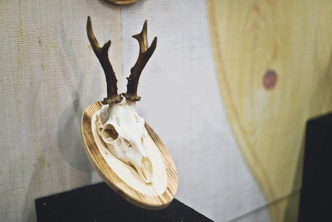 Rehbock auf Fichte gebrannt - für einen rustikalen Look