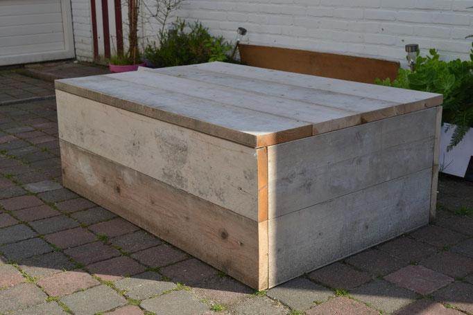 Tafel bij loungeset van steigerhout
