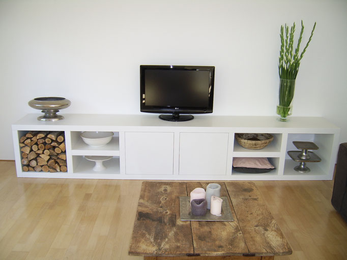 TV kast steigerhout wit