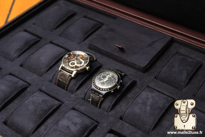 custom leather box Louis Vuitton collection  suitcase watch rolex patek
