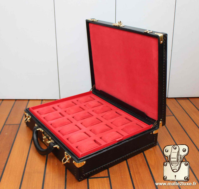 custom leather box Louis Vuitton collection  suitcase watch rolex patek red perfect