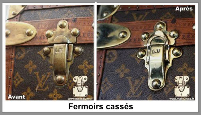 fermoirs cassés malle louis vuitton