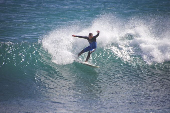 Danny surfing on one of the beaches on Gran Canaria