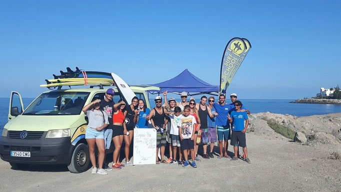 The team and surf club along with volunteers at our annual beach clean