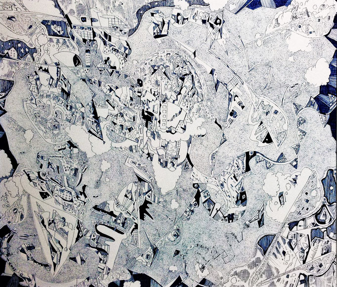 「世界を作れ-blue-」 2014.3 (530mm×455mm)【SOLD OUT】