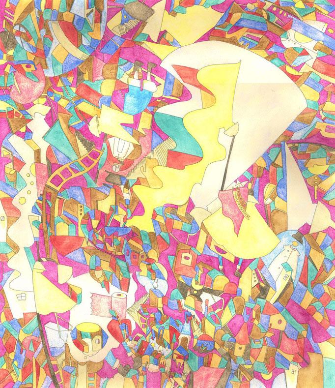 「秘密基地にスポットライト」 2015.4 (530mm×455mm)【SOLD OUT】