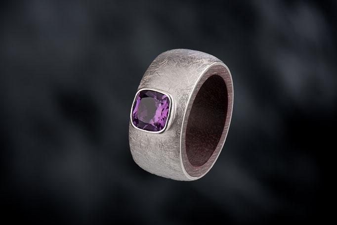 Produktnummer 6435 - 925/- Silber, Amethyst,  purple heart  - Holz
