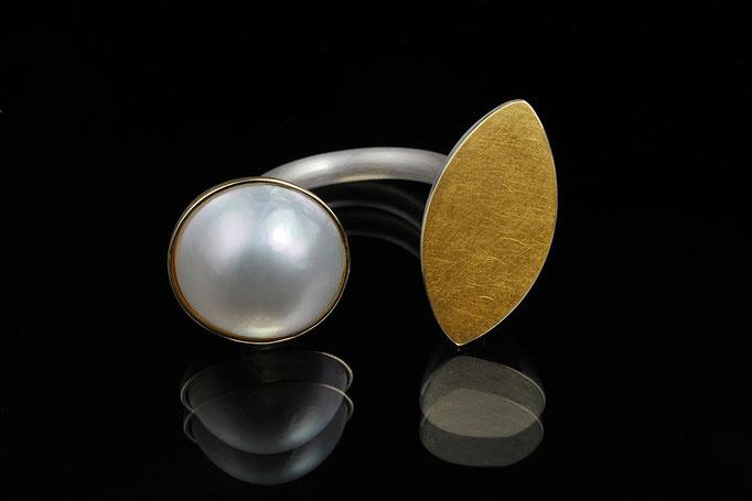 Produktnummer 0794 - 750/- Gelbgold, 925/- Silber, Mabeperle