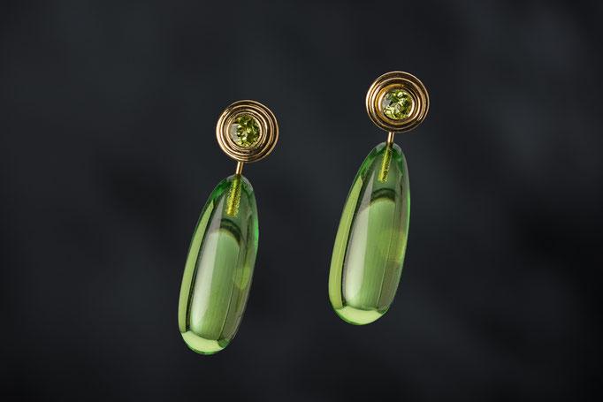 Artikelnummer 9143 - 750/- Gelbgold, Peridot, grüne Bernsteine - abnehmbar