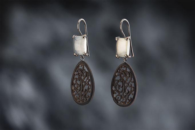 Artikelnummer 6396 - 925/- Silber, Mondsteine, Gagat