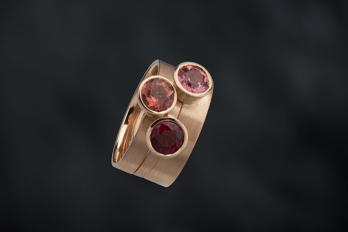 Produktnummer 4189 - 585/- Rosegold, Turmaline, rot, rosa