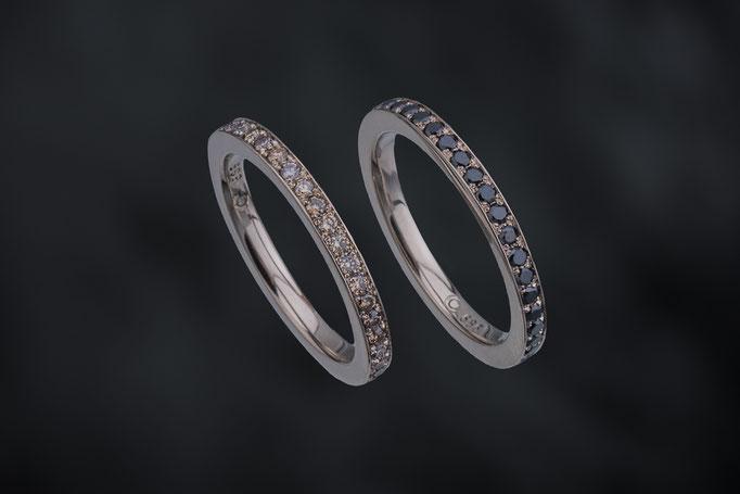 Produktnummer 4059 - 585/- Weißgold, schwarze und braune Brillanten