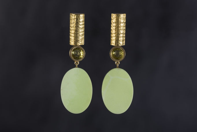 Artikelnummer 0326 - 900/- Gelbgold, 925/-Silber,  Peridot, Chrysopras