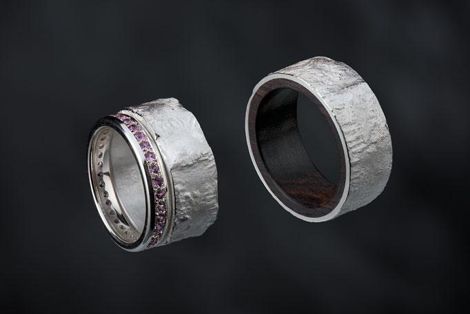 Produktnummer 5970  - 925/- Silber, rosa Safire, Grenadill
