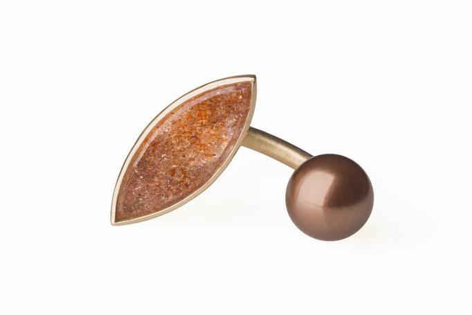 Produktnummer 3602 - 585/- Rosegold, Sonnenstein, braune Süßwasserperle