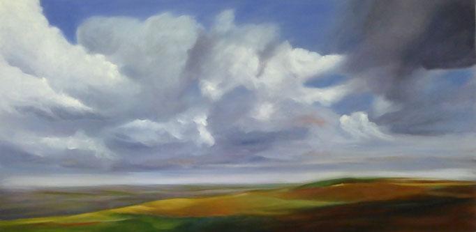 Burgund über Land, 2018, Öl auf Leinwand, 60 x 120 cm