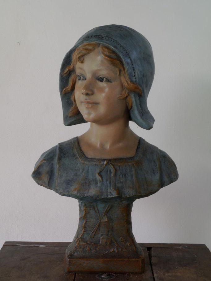 Ranieri, Buste de jeune Hollandaise, XXe s., plâtre polychrome