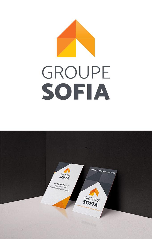 Création du logo et de l'identité : brochure, flyers panneaux et signalétique des agences du groupe Sofia Immobilier